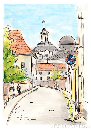 Hand Painted Sketch Of Vilnius City Street. Watercolor And Liner.