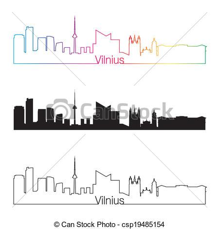 Clip Art Vector of Vilnius skyline in orange background in.
