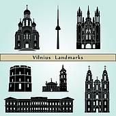 Clip Art of Vilnius landmarks and monuments k16112166.