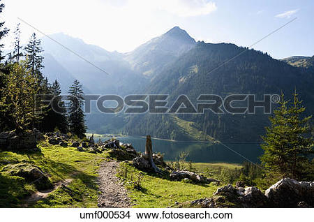 Stock Photo of Austria, View of Lake Vilsalpsee umf000534.