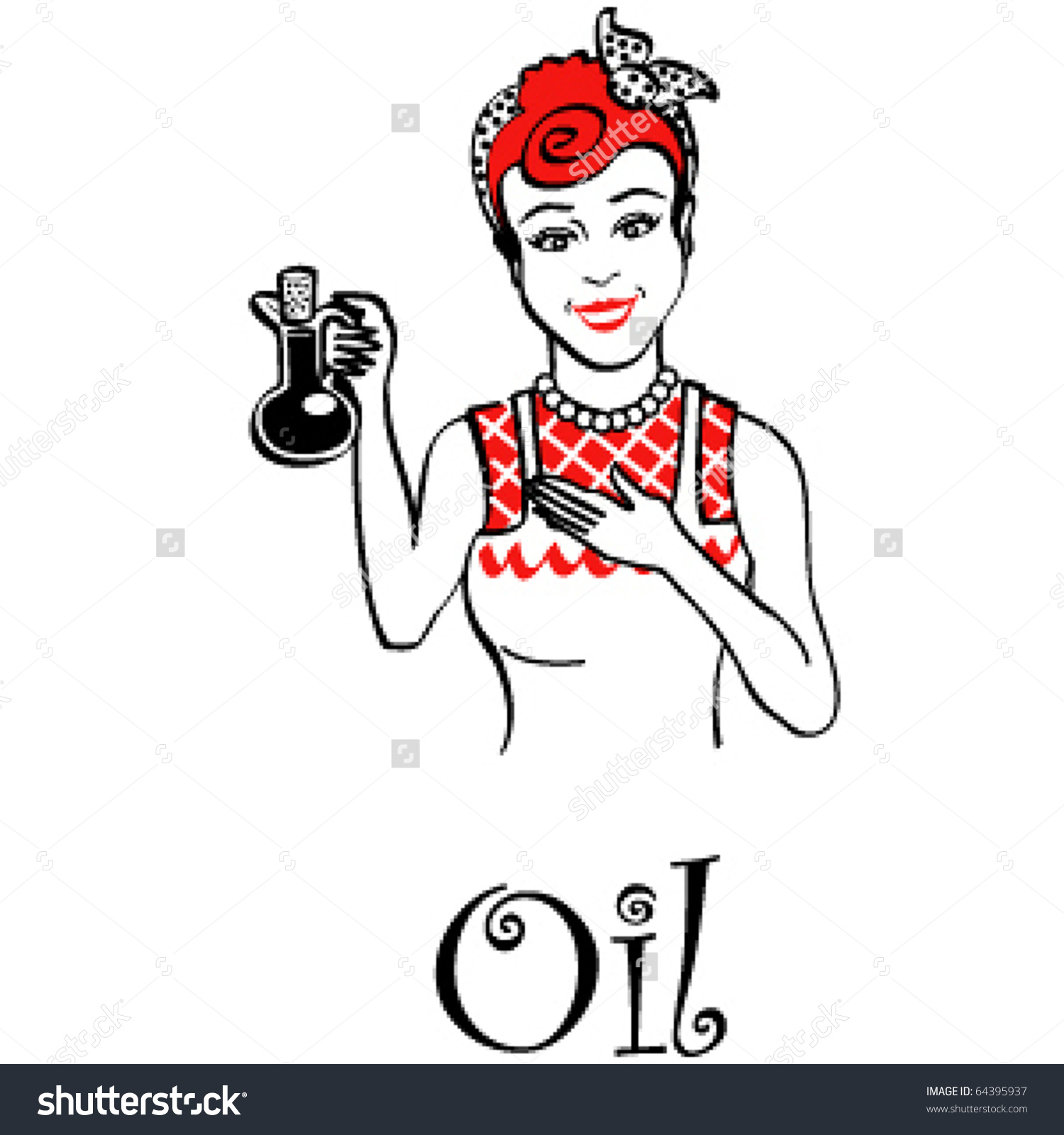 Vintage Looking Woman Or Girl Cook Holding A Mixture Of Oil And.