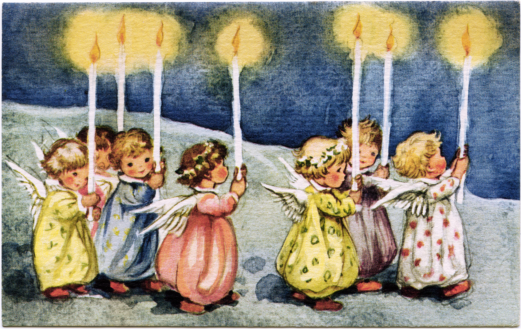 Little Angels Carrying Candles ~ Vintage Greeting Card.