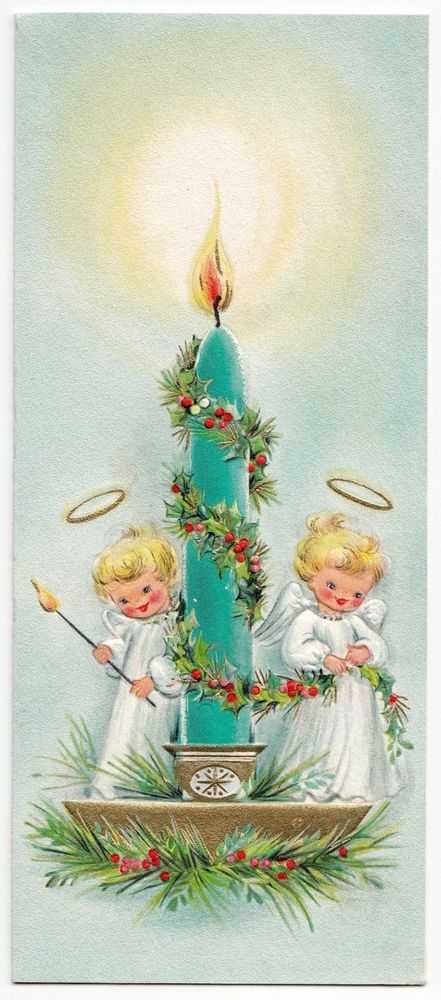 Vintage Greeting Card Christmas Tiny Angels Candle Blue.