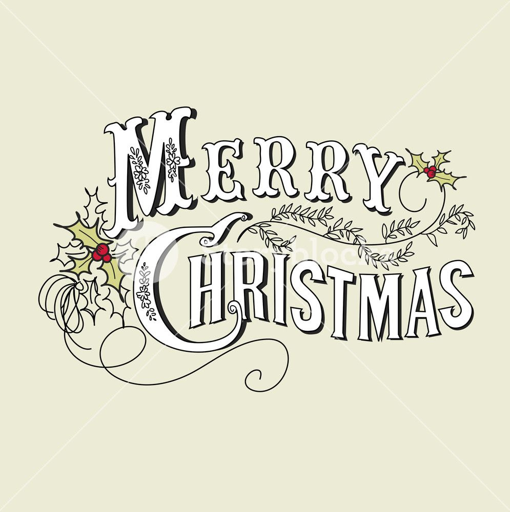 Vintage Christmas Card. Merry Christmas Lettering.