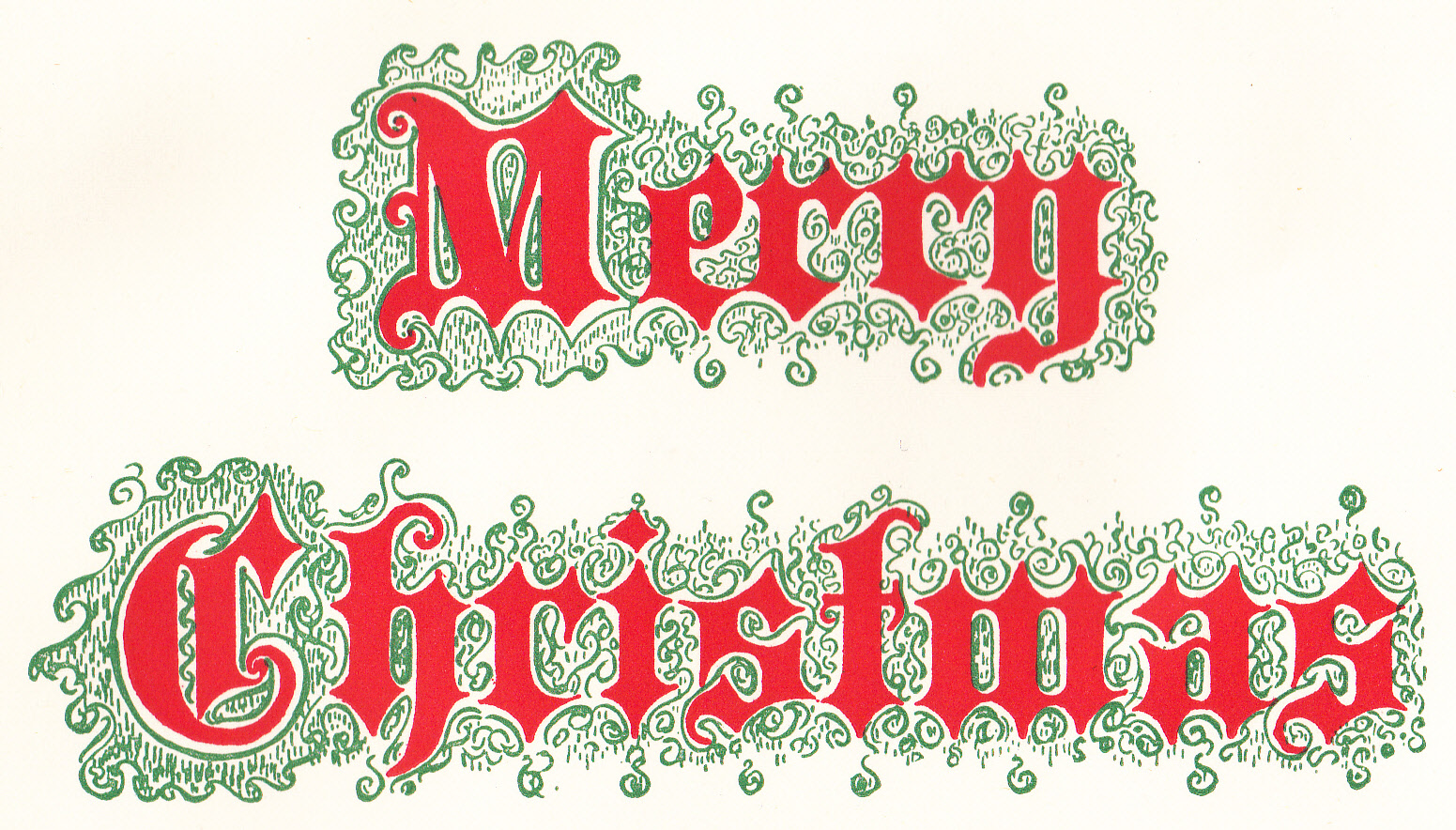 Vintage Merry Christmas Clipart.