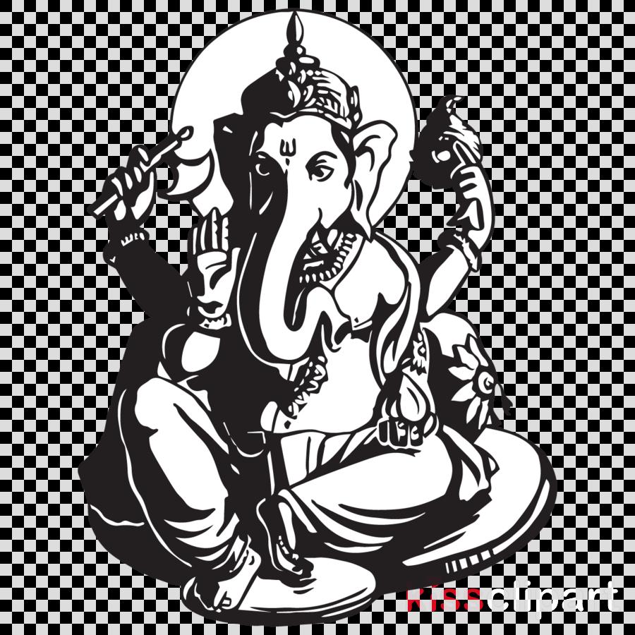Ganesh Chaturthi Black And White clipart.