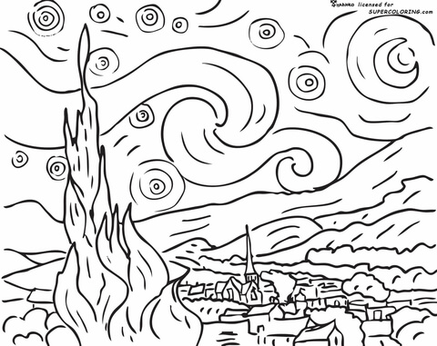 Vincent Van Gogh coloring pages.