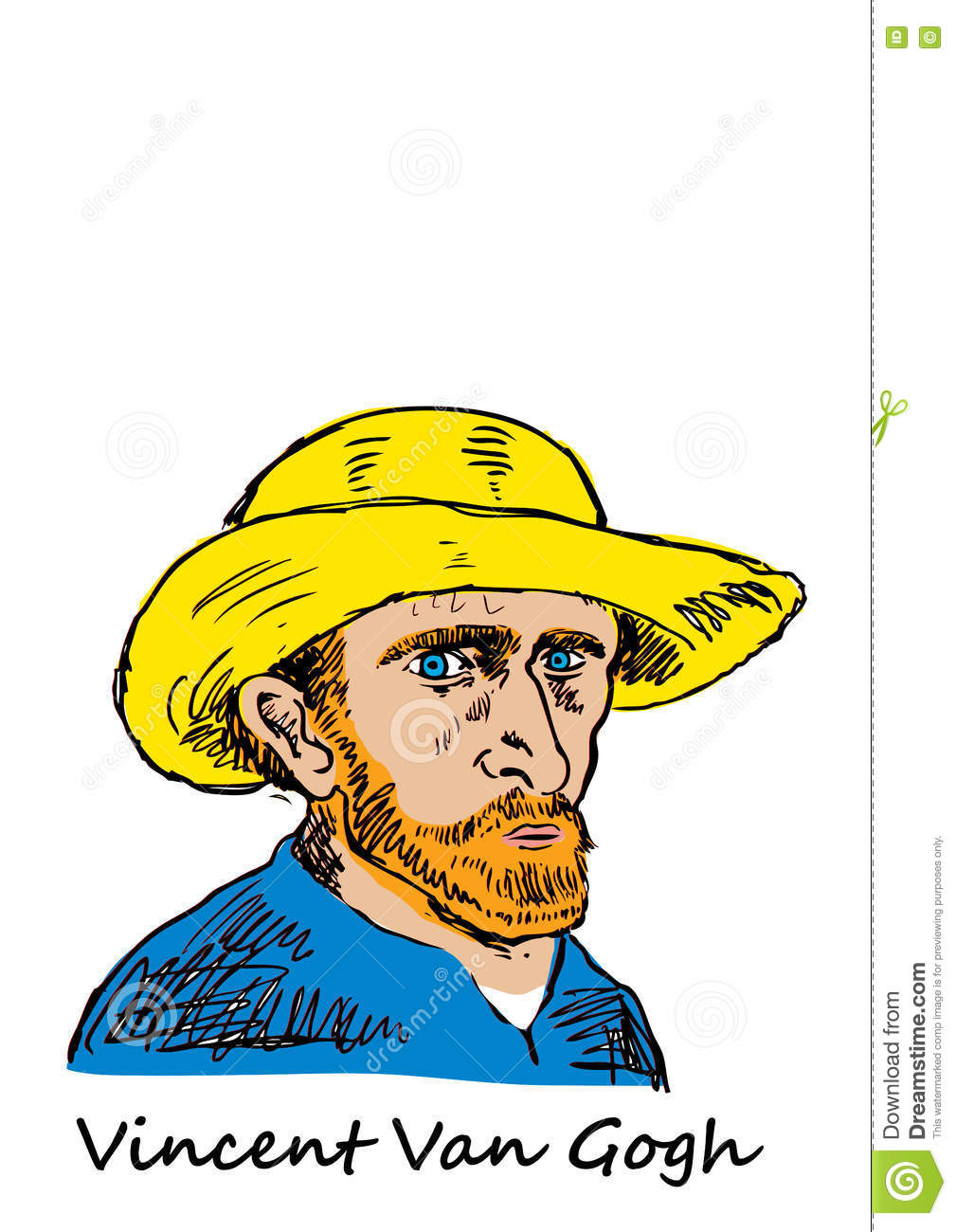 Vincent Van Gogh Stock Vector.