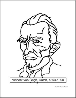 Clip Art: Artists: Vincent Van Gogh (coloring page).