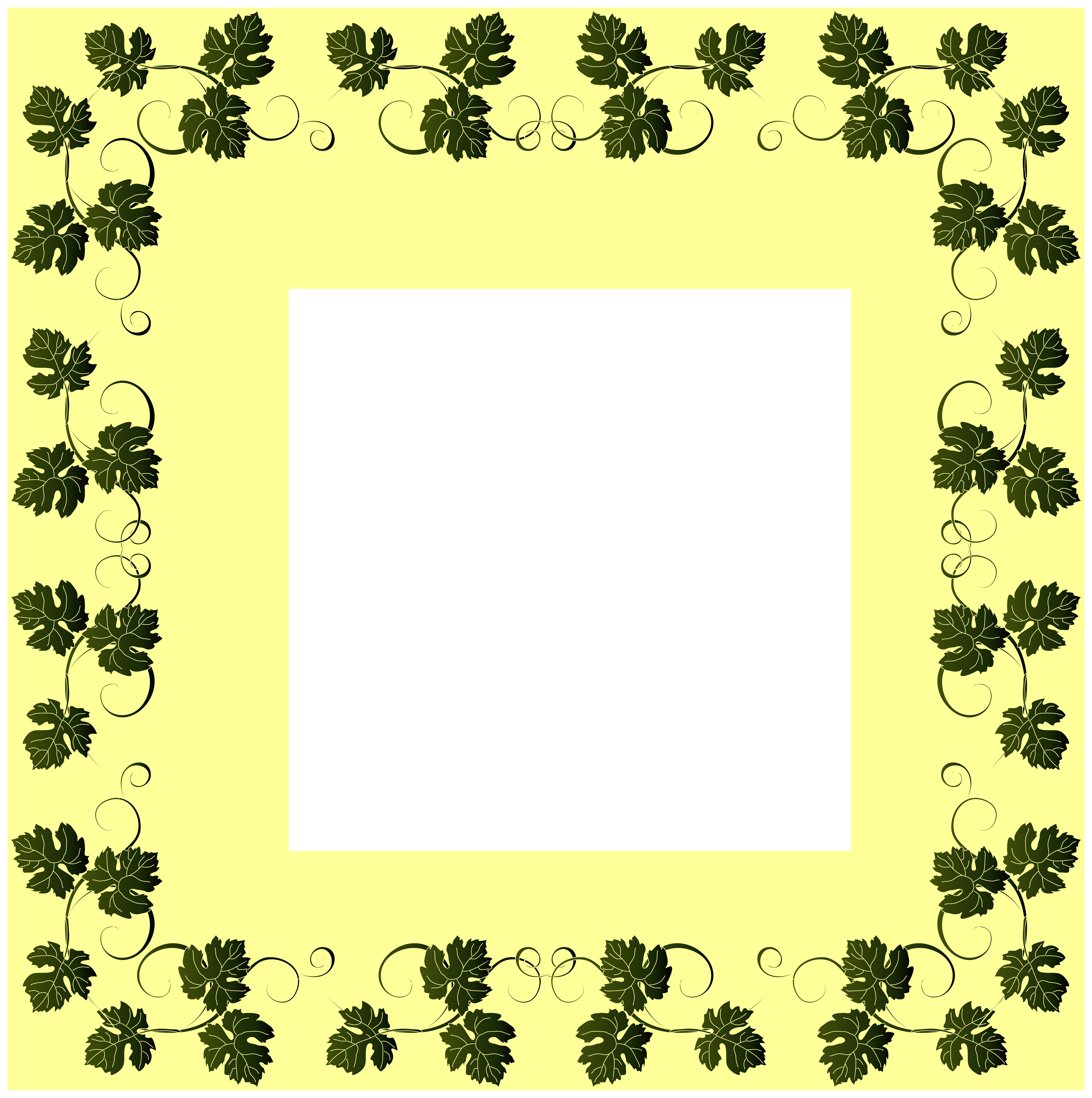 Vine Border Frame PNG Clip Art Image.