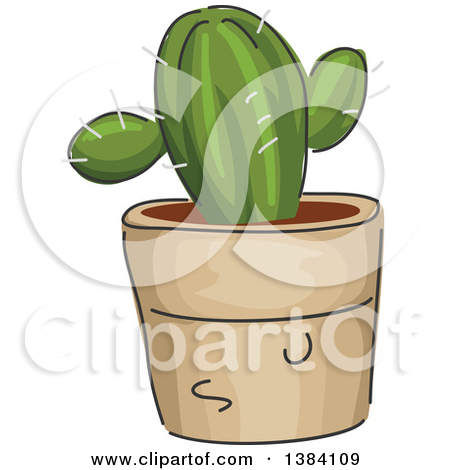 Clipart of a Potted Vine Plant Growing up a Trellis.