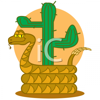 Cartoon Rattlesnake by a Cactus.