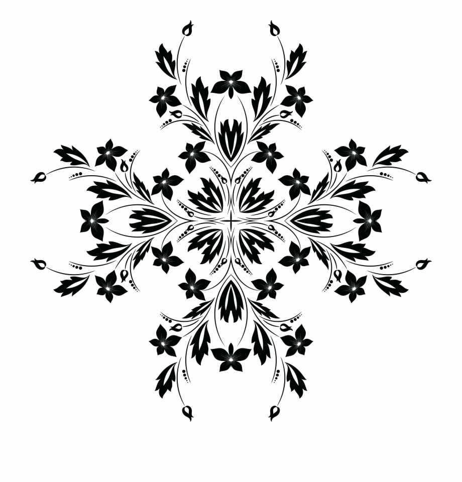 Free Clipart Of A Black And White Floral Vine Design.