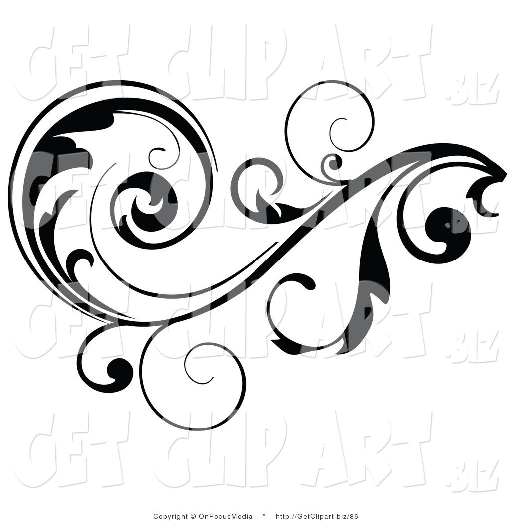 Clip Art of a Black Leafy Vine Design Accent with Scrolling.