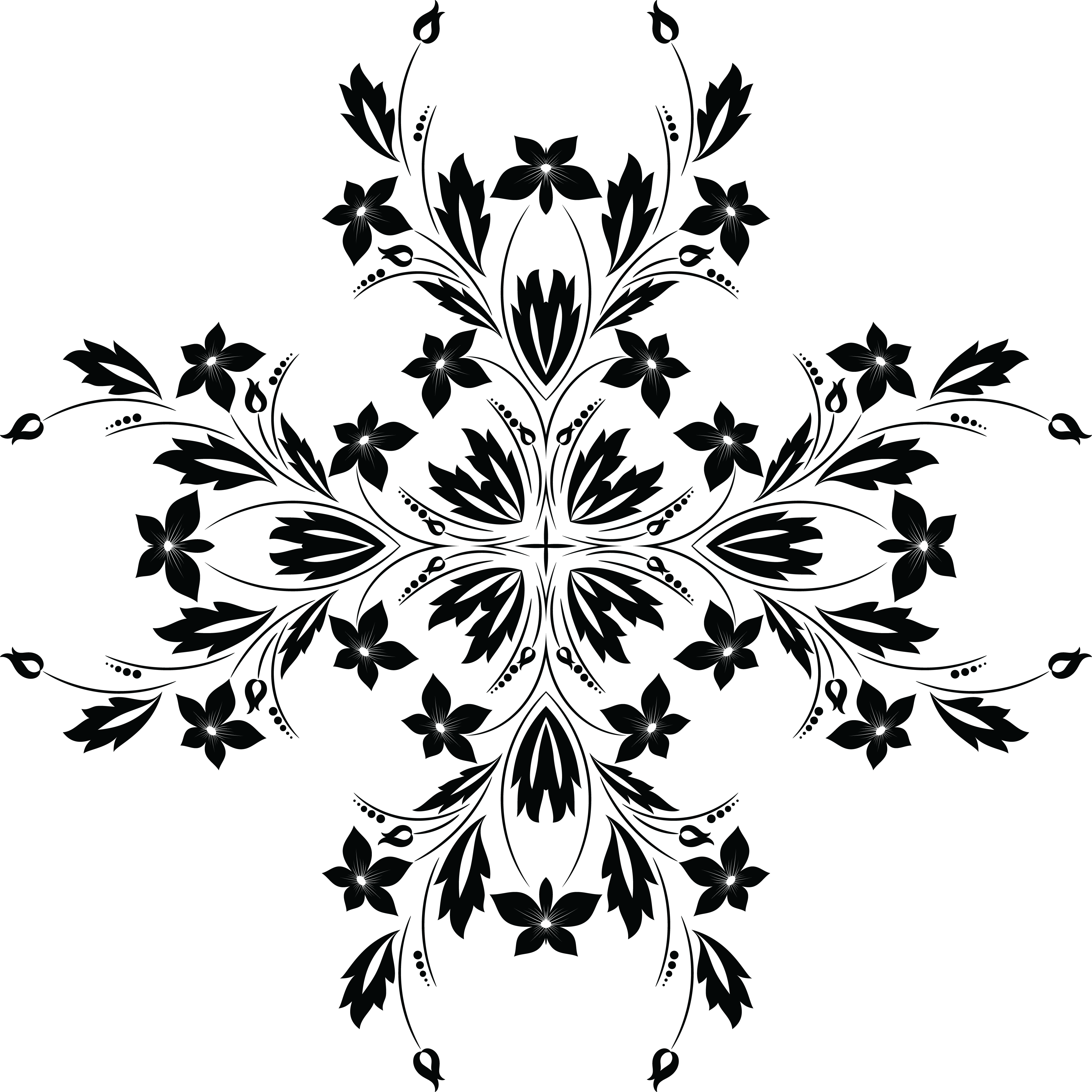 Free Clipart Of A Black And White Floral #118042.