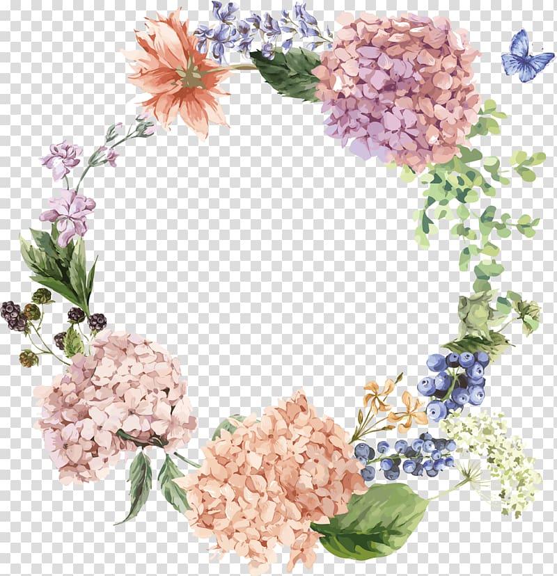Beige and green flowers border illustration, Hydrangea.