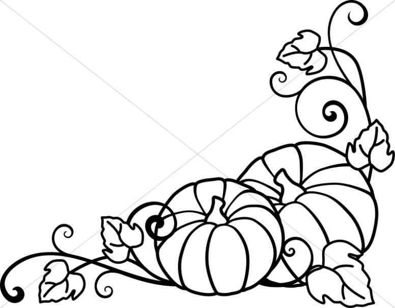 Pumpkin Clipart Black And White Vines.