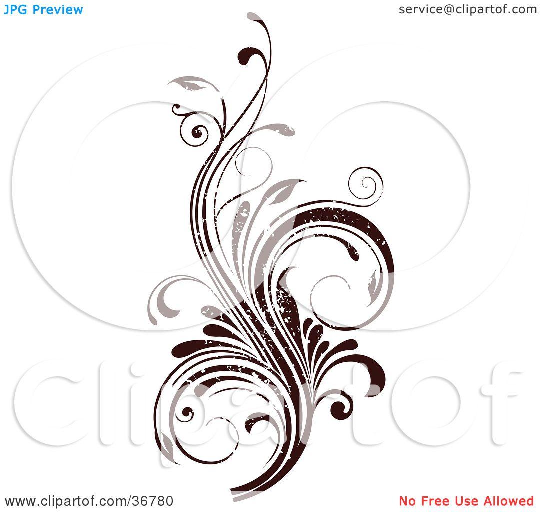 Clipart Illustration of a Dark Brown Grunge Textured Curly.