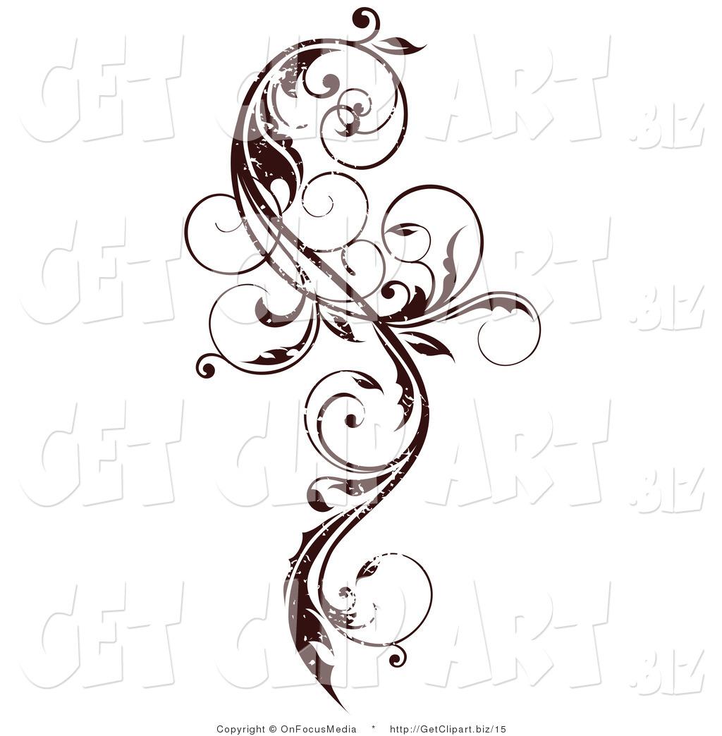 Vector Clip Art of a Dark Brown Grungy Elegant Curly Vine.
