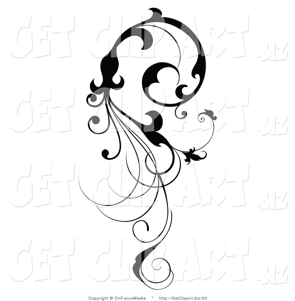 Clip Art of a Vertical Black Silhouetted Scroll Vine Design.