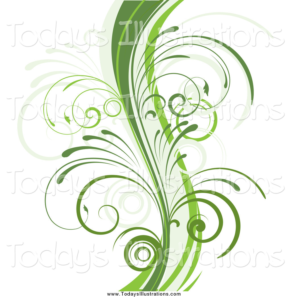 Clipart of a Green Organic Vine with Young Curly Stems on White by.