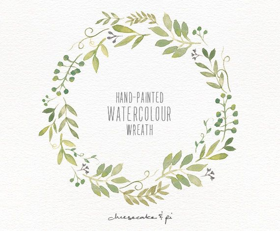 Watercolor wreath: painted floral wreath clipart / Wedding.
