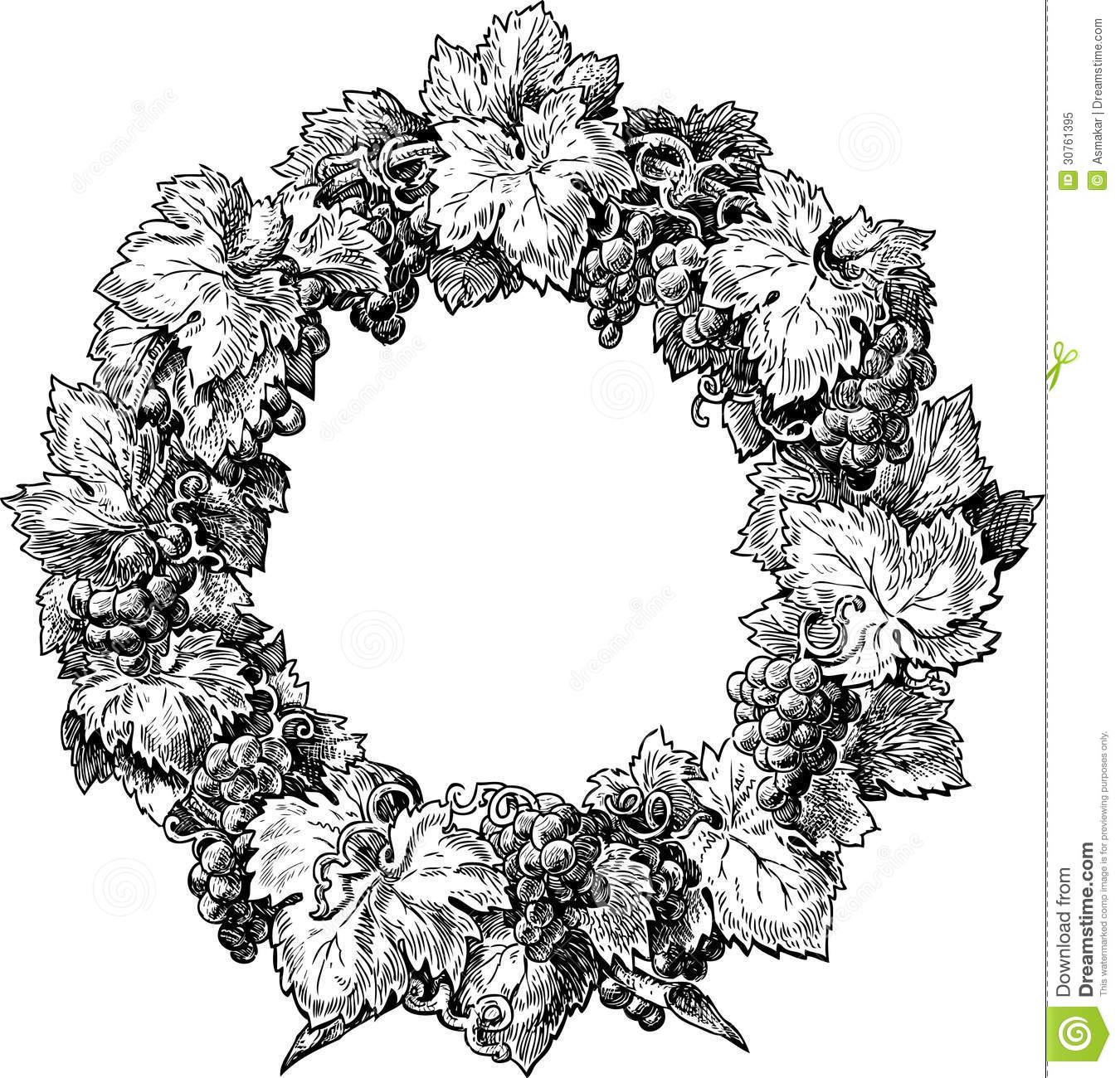 Grape Vine Wreath Clipart.