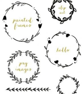 Vine Wreath Clipart Image.
