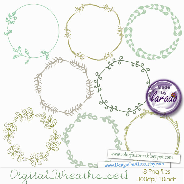 Digital Wreath, Wreath Clipart, Digital Frame, Digital Border.