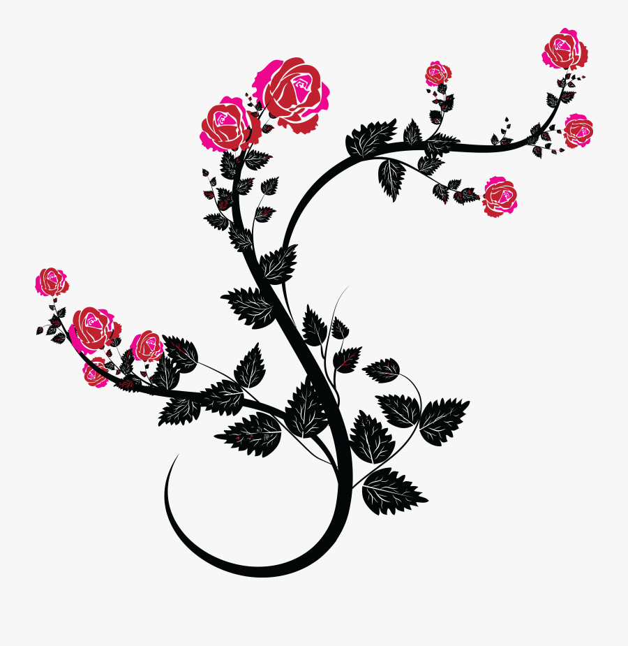 Rose Vine Drawing Clip Art.