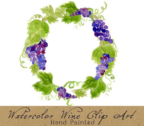 Digital Clipart Vineyard Clip Art Watercolor by.