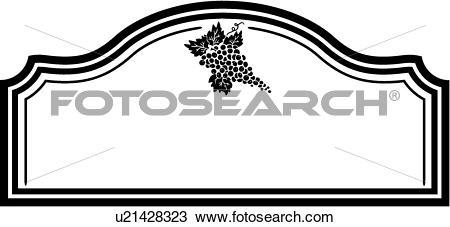 Clipart of , blank, border, fancy, frame, shield, sign, vineyard.