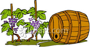 Vineyard and a Wine Barrel Royalty Free Clipart Picture.