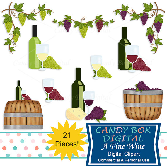 Wine and Grape Clipart, Winery and Vineyard Clip Art with Grape.