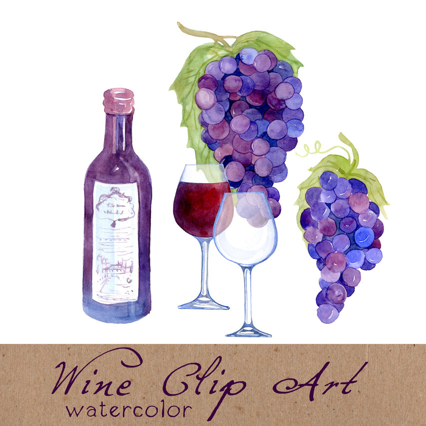Digital Clipart Wine Clip Art Watercolor by SwiejkoForPrint.