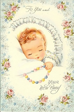 Free Vintage Baby Gift Cards Clipart.