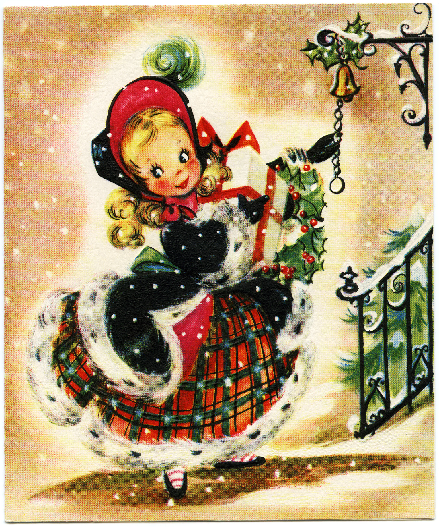 Girl with Gift Vintage Christmas Card.