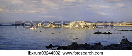 """Stock Photo of """"Tufa formations on Sees Mono Lake in the evening."""