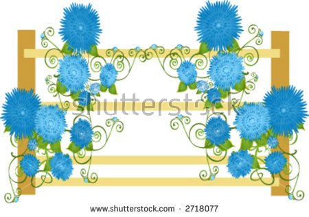 Blue Vining Floral Flowers On Vine Around A Fence Stock Vector.