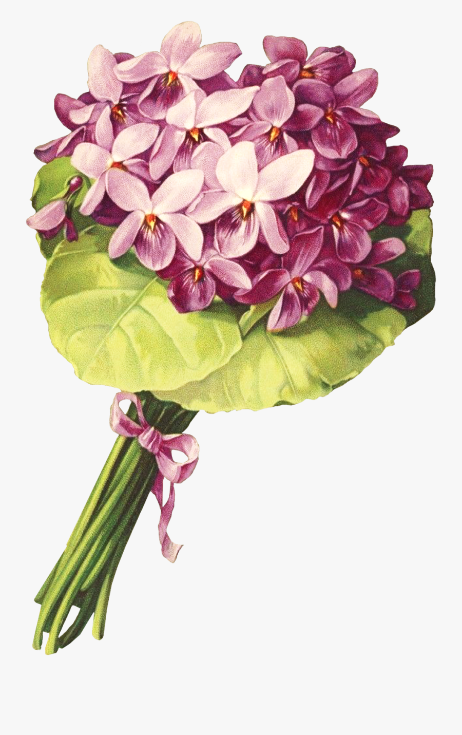 Victorian Floral Purple Nosegay Clipart.