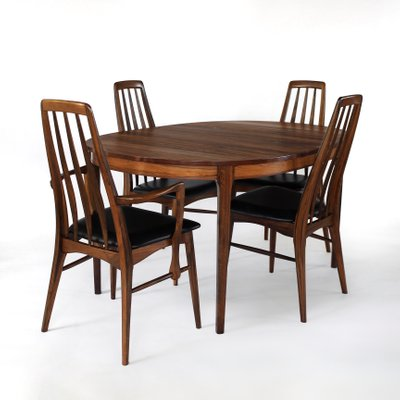 Rosewood Dining Table & Eva Chairs Set by Niels Koefoed, 1960s, Set of 5.