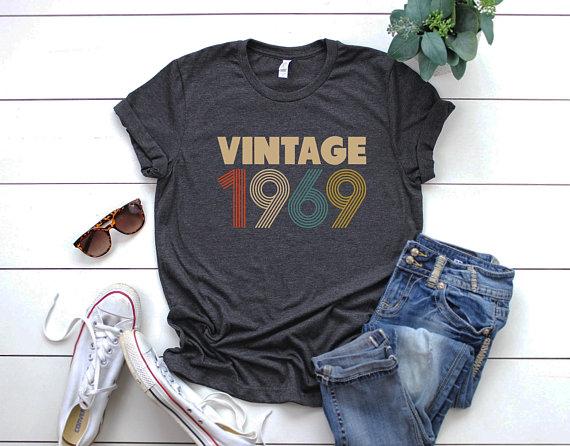 50th Birthday for Women, Vintage 1969 Shirt, 50th Birthday.