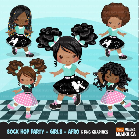 Sock Hop Party Clipart. 50\'s retro characters afro puff.