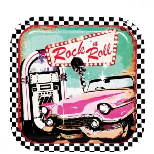50s Classic Rock n Roll Party Plates.