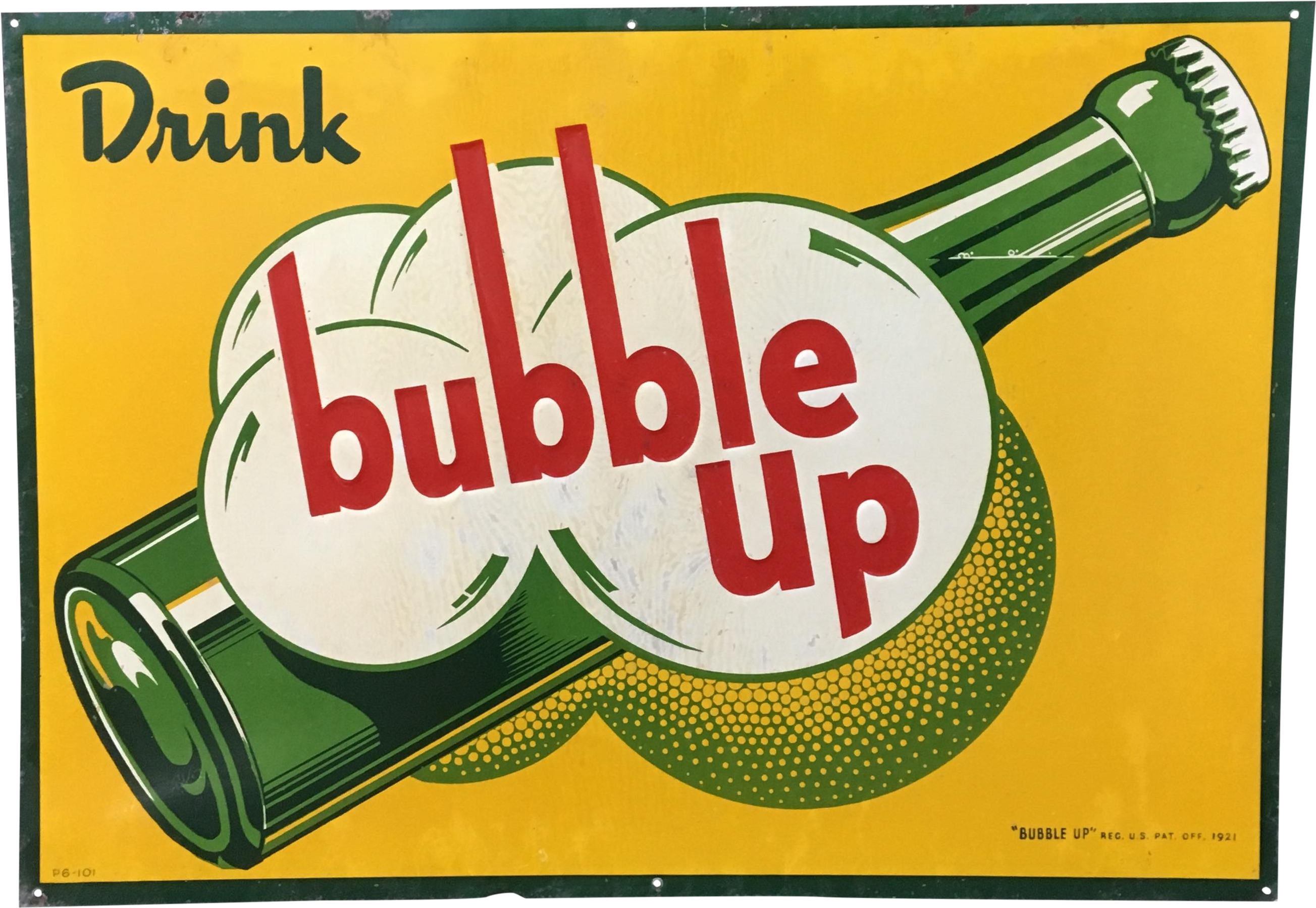 1921 Vintage Advertising Bubble Up Soda Sign Vintage Clipart.