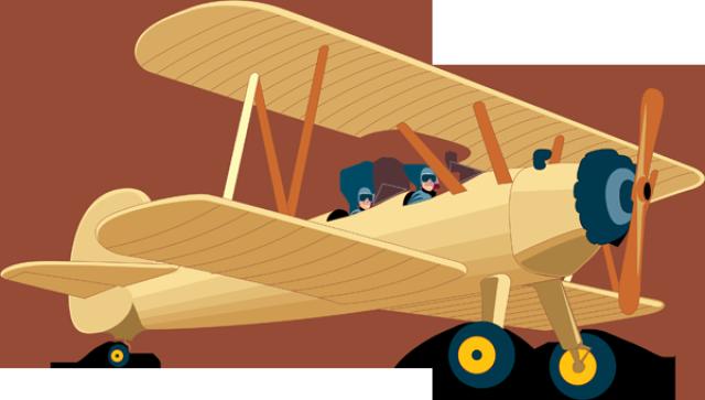 Free Flying Vintage Airplane Clip Art.