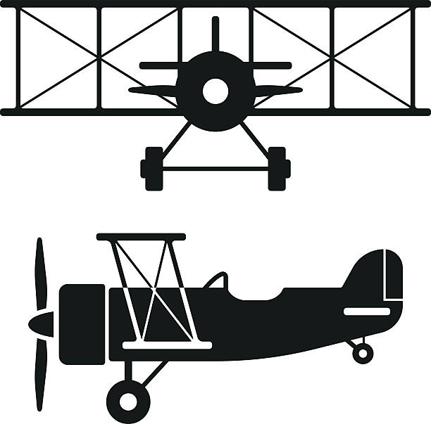 Vintage Airplane Silhouette Clip Art.