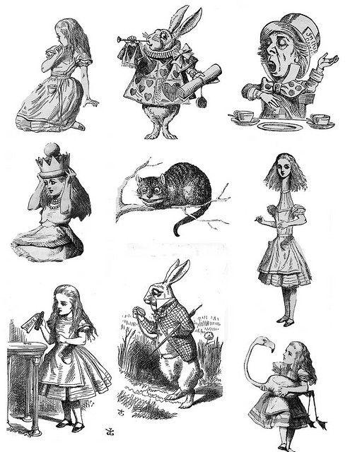 Set of 7 vintage Alice in Wonderland antique goth Temporary.