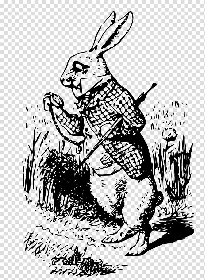 Alice In Wonderland Vintage Rabbit transparent background.