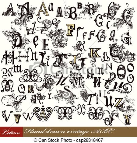 Set of vintage letters English alphabet hand drawn swirl letters.eps.